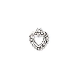 charm, antique silver-plated pewter (zinc-based alloy), 11x11mm double-sided beaded open heart. sold per pkg of 10.