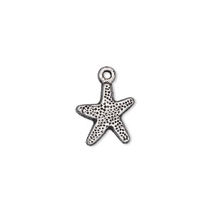 charm, antique silver-plated pewter (zinc-based alloy), 12x12mm single-sided starfish. sold per pkg of 50.