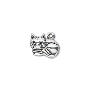 charm, antique silver-plated pewter (zinc-based alloy), 15x12mm single-sided cat. sold per pkg of 10.
