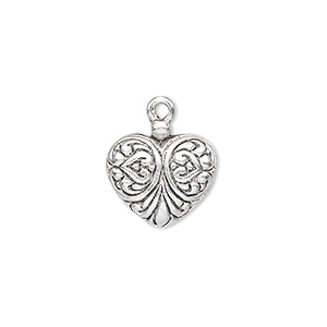 charm, antique silver-plated pewter (zinc-based alloy), 15x14mm single-sided fancy heart. sold per pkg of 10.