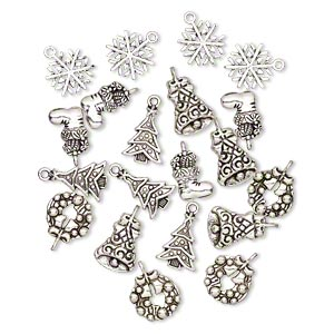 charm, antique silver-plated pewter (zinc-based alloy), 16x13mm-20x15mm single- and double-sided assorted christmas theme. sold per pkg of 20.