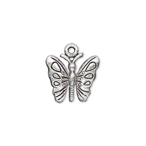 charm, antique silver-plated pewter (zinc-based alloy), 16x15mm single-sided butterfly. sold per pkg of 10.