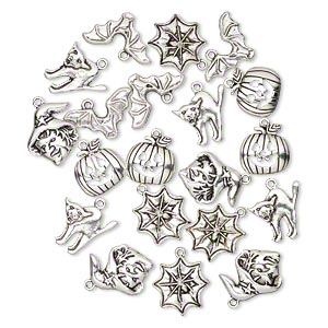 charm, antique silver-plated pewter (zinc-based alloy), 17x16mm-20x17mm assorted single-sided halloween theme. sold per pkg of 20.