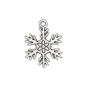 charm, antique silver-plated pewter (zinc-based alloy), 21x19mm single-sided snowflake with flower design. sold per pkg of 10.