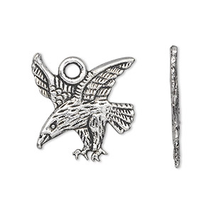 charm, antique silver-plated pewter (zinc-based alloy), 22x21mm single-sided eagle. sold per pkg of 20.