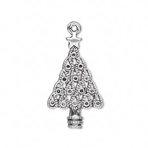 charm, antique silver-plated pewter (zinc-based alloy), 28x16.5mm single-sided tree (15) pp12 settings. sold per pkg of 10.