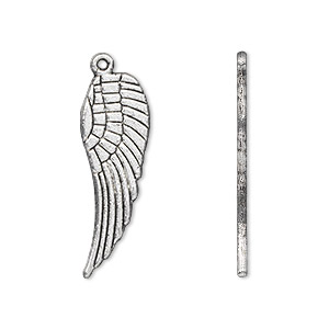 charm, antique silver-plated pewter (zinc-based alloy), 28x9mm double-sided wing. sold per pkg of 500.