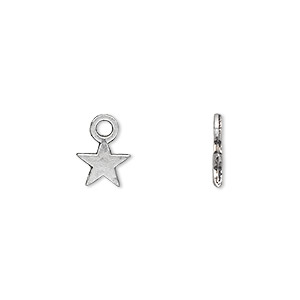 charm, antique silver-plated pewter (zinc-based alloy), 8x8mm double-sided star. sold per pkg of 500.
