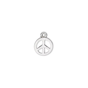 charm, antique silver-plated pewter (zinc-based alloy), 9mm peace sign. sold per pkg of 20.