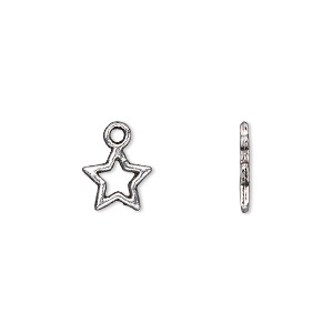 charm, antique silver-plated pewter (zinc-based alloy), 9x8mm double-sided open star. sold per pkg of 500.