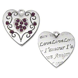 charm, antique silver-plated pewter (zinc-based alloy) and crystal, purple, 21x20.5mm double-sided flat heart with swirls and crystal on one side and imprinted love, lamour  amore on the other side. sold individually.
