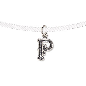 charm, antique sterling silver, 10x7mm fancy block alphabet letter p. sold individually.