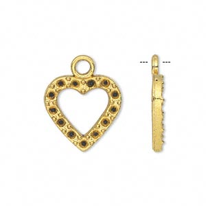 charm, antiqued gold-finished pewter (zinc-based alloy), 16x16mm single-sided open heart with (13) pp13 settings. sold per pkg of 20.