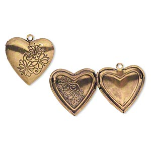 charm, antiqued gold-finished pewter (zinc-based alloy), 25x24mm heart locket with flower design. sold per pkg of 2.