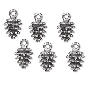 charm, antiqued pewter (tin-based alloy), 10.5x9mm fir cone. sold per pkg of 6.