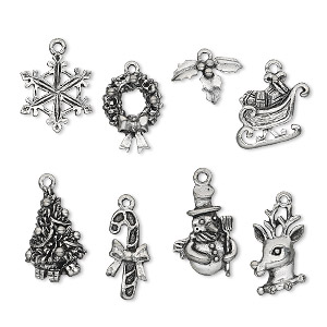 charm, antiqued pewter (tin-based alloy), 12.5x9mm-22.5x17.5mm christmas theme. sold per 8-piece set.