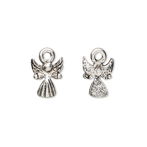 charm, antiqued pewter (tin-based alloy), 12x9mm baby angel. sold per pkg of 4.