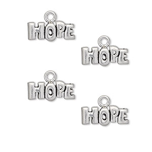 charm, antiqued pewter (tin-based alloy), 13x6mm hope. sold per pkg of 4.