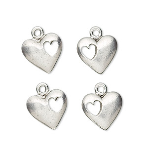 charm, antiqued pewter (tin-based alloy), 14x12mm heart with cutout. sold per pkg of 4.