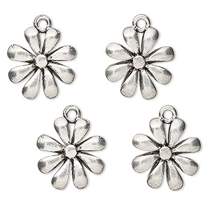 charm, antiqued pewter (tin-based alloy), 14x14mm open petal flower. sold per pkg of 4.