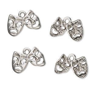 charm, antiqued pewter (tin-based alloy), 16x10mm harlequin mask. sold per pkg of 4.