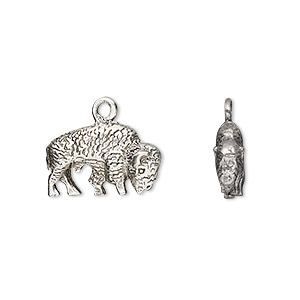 charm, antiqued pewter (tin-based alloy), 17x11mm bison. sold per pkg of 2.