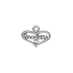charm, antiqued pewter (tin-based alloy), 18x10mm single-sided open heart with freedom and star. sold per pkg of 2.
