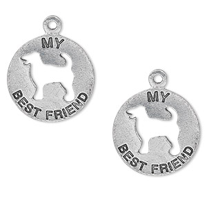 charm, antiqued pewter (tin-based alloy), 19mm single-sided flat round with my best friend and dog cutout. sold per pkg of 2.