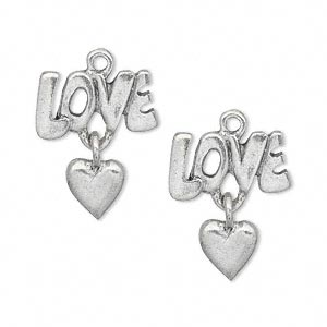 charm, antiqued pewter (tin-based alloy), 19x16mm single-sided love with heart dangle. sold per pkg of 2.