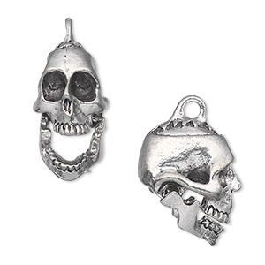 charm, antiqued pewter (tin-based alloy), 20x17mm 3d skull with hinged jaw. sold per pkg of 2.