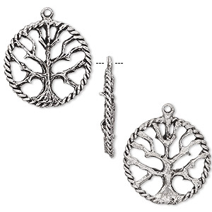 charm, antiqued pewter (tin-based alloy), 22mm tree of life. sold per pkg of 2.