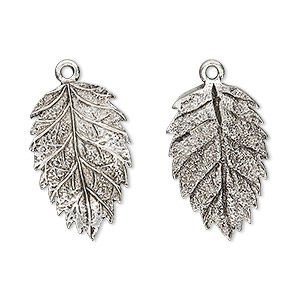 charm, antiqued pewter (tin-based alloy), 23x15mm tanoak leaf. sold per pkg of 2.