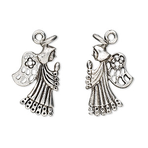 charm, antiqued pewter (tin-based alloy), 24x14mm praying angel. sold per pkg of 2.