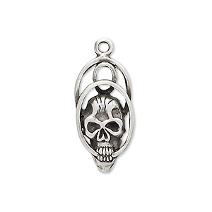 charm, antiqued pewter (tin-based alloy), 25x13mm skull with double ring. sold per pkg of 2.