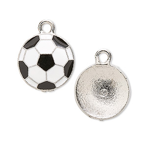charm, antiqued pewter (tin-based alloy) and enamel, 17mm soccer ball. sold per pkg of 2.