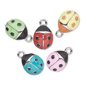 charm, antiqued pewter (tin-based alloy) with enamel, assorted colors, 12x10mm single-sided ladybug. sold per pkg of 5.