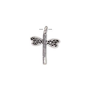 charm, antiqued silver-finished brass, 16x14mm single-sided dragonfly. sold per pkg of 6.