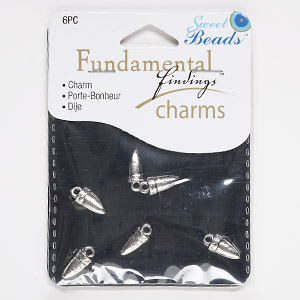 charm, antiqued silver-finished pewter (zinc-based alloy), 11x6mm 3d horn. sold per pkg of 6.