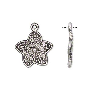 charm, antiqued silver-finished pewter (zinc-based alloy), 18x18mm single-sided flower. sold per pkg of 20.