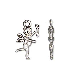 charm, antiqued silver-finished pewter (zinc-based alloy), 19x12mm double-sided cupid. sold per pkg of 20.