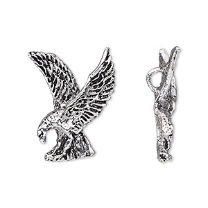 charm, antiqued silver-plated brass, 23x19mm single-sided eagle, hidden loop. sold per pkg of 2.
