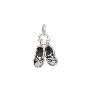 charm, antiqued sterling silver, 10x5mm pair of baby shoes. sold individually.