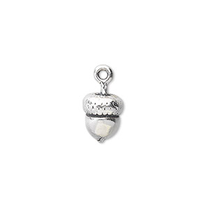 charm, antiqued sterling silver, 10x8mm 3d acorn. sold individually.