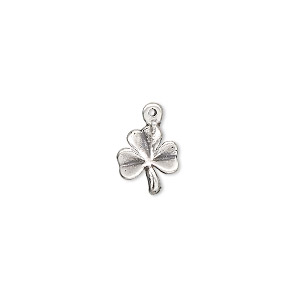 charm, antiqued sterling silver, 10x9mm single-sided 3-leaf clover. sold individually.