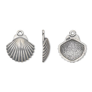 charm, antiqued sterling silver, 13x12mm single-sided shell. sold individually.