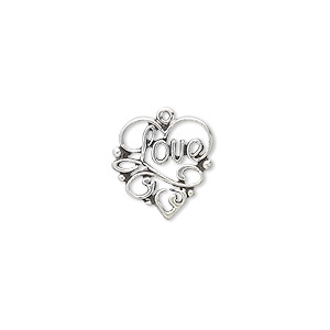 charm, antiqued sterling silver, 14x13mm single-sided heart with love. sold individually.