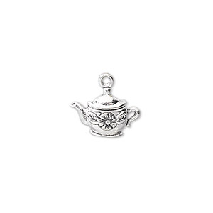 charm, antiqued sterling silver, 14x9mm single-sided teapot. sold individually.
