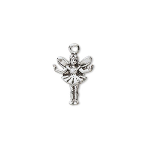 charm, antiqued sterling silver, 15x12mm 3d fairy. sold individually.