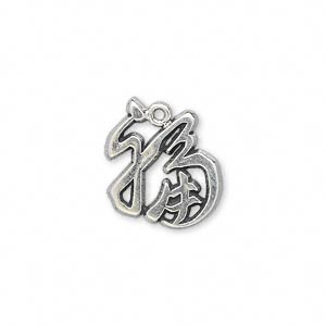 charm, antiqued sterling silver, 15x14mm good luck. sold individually.