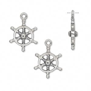 charm, antiqued sterling silver, 16x13mm double-sided ship wheel. sold individually.